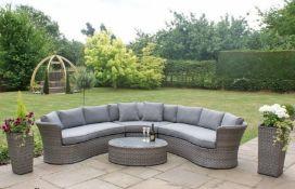 + VAT Brand New Chelsea Garden Company Five Seater Semi Circular Corner Set - Grey Rattan And Grey