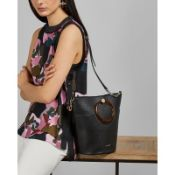 + VAT Brand New Ladies Black Leather Aniie Resin Handle Bucket Bag (ISP £189 Ted Baker)