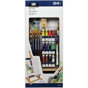 + VAT Brand New Royal Langnickel 24 Piece Acrylic Paint Set inc Easel - 12 Acrylic Paints - 6 Gold