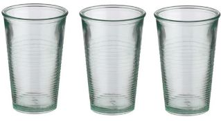 + VAT Brand New Jamie Oliver Set Of Three Glasses made from 100% recycled Glass -