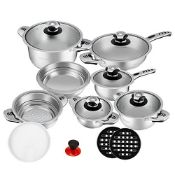 + VAT Brand New Rosenberg Professional 16 Piece High Quality Stainless Steel Cookware Set - Inc Two