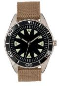 + VAT Brand New Gents 1960s Israeli Naval Commando Watch with Engraved Back in Presentation Box