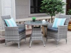+ VAT Brand New Chelsea Garden Company Two Person Table & Chair Set - Aluminium Frame - Double 1/2