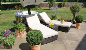 + VAT Brand New Chelsea Garden Company Sunloungers And Table Set - Includes Two Sunloungers -