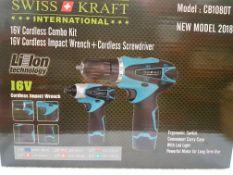 + VAT Brand New 18v Cordless Combo Kit CB1080T Including Impact Drill-Cordless Screwdriver-Two