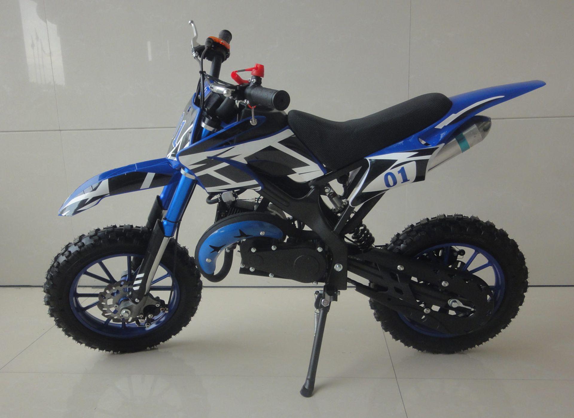 + VAT Brand New 49cc Falcon Mini Dirt Bike - Full Front & Rear Suspension - Disc Brakes - Easy Pull - Image 3 of 6