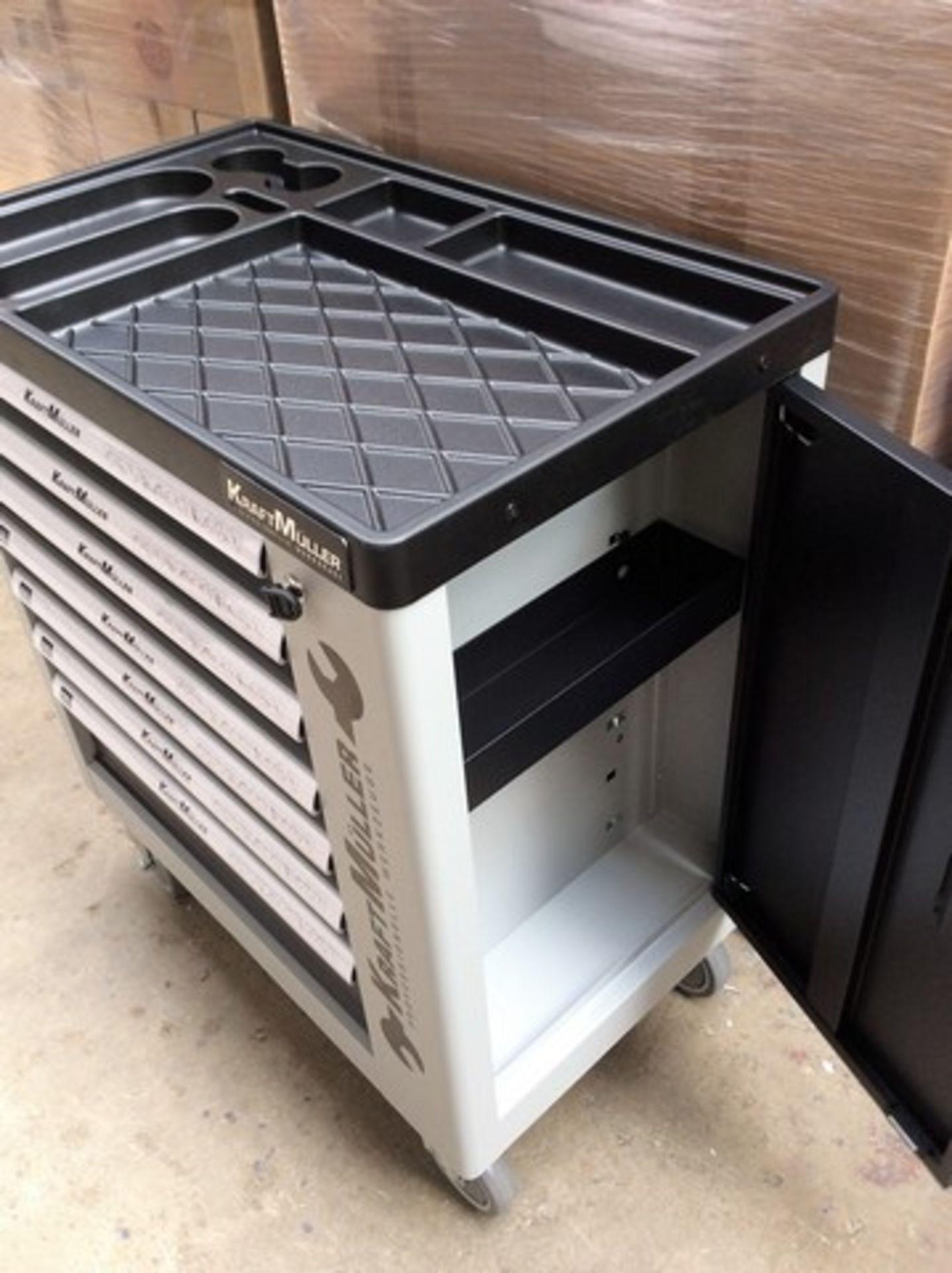 + VAT Brand New Seven Drawer Locking Garage Tool Cabinet With Lockable Castors-Seven EVA Drawers Of - Image 2 of 8