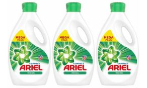 + VAT Brand New Three Bottles Of 75 Wash Ariel Compact Washing Liquid -