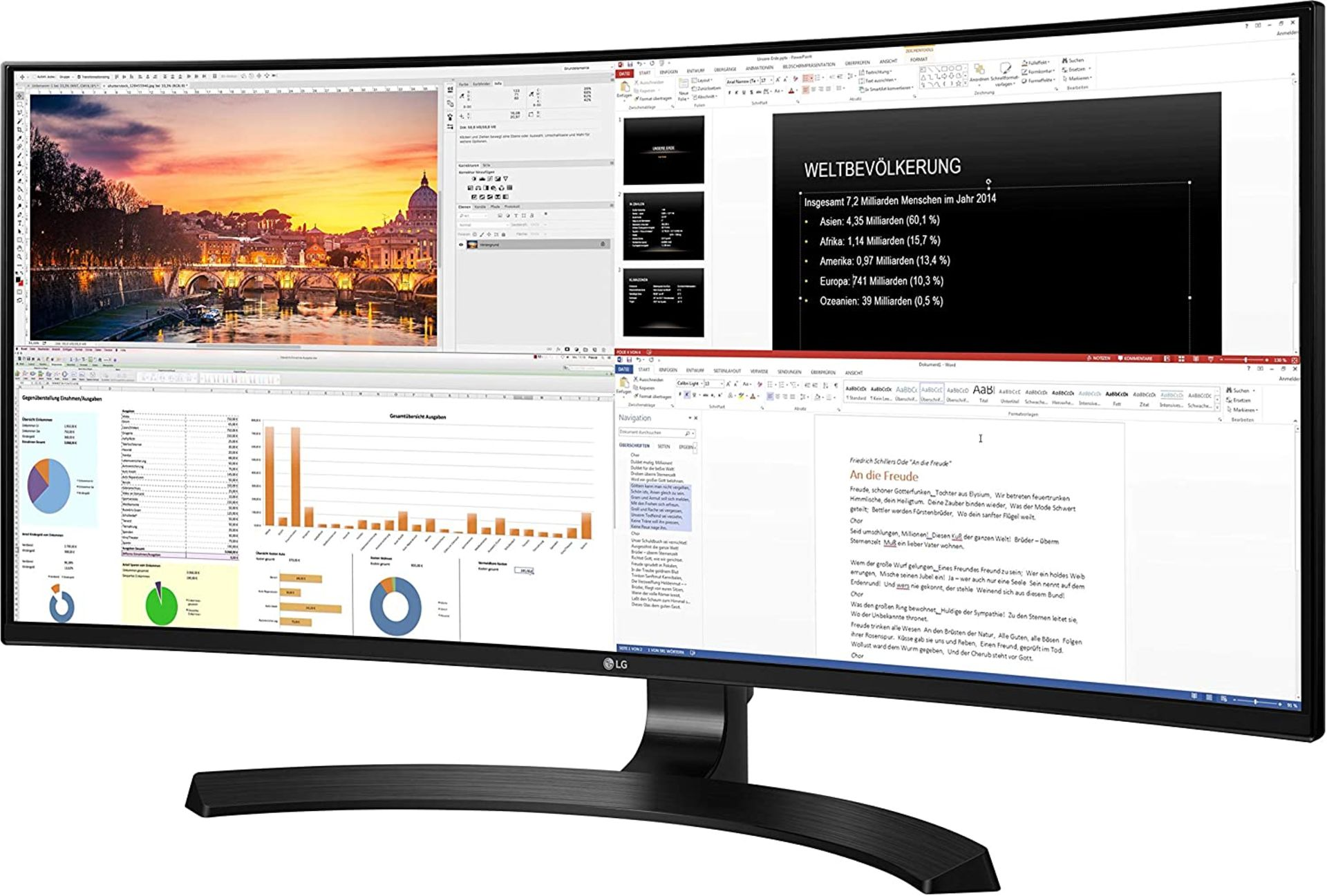 + VAT Grade A LG 34 Inch CURVED QHD ULTRA WIDE LED IPS MONITOR - 3440 X 1440P - HDMI, DISPLAY PORT