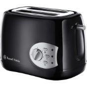 + VAT Brand New Russell Hobbs Two Slice Toaster - With Reheat/Frozen/Cancel Features - Variable Brow