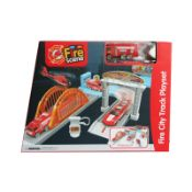 + VAT Brand New Fire City Track Playset With Link Together Track