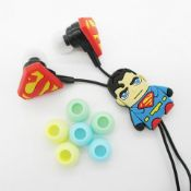 No VAT Brand New Pair Of Superman Earphones With Logo Character And Changeable Multicoloured