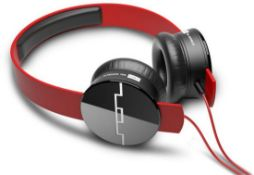 + VAT Brand New Sol Republic Tracks V8 Red - With Sonic Ear Cushions - Music & Phone Control