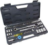 + VAT Brand New 52 Piece Chrome Socket Set With 40 Sockets, Reverable ratchet, Spinner Bar