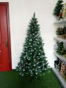"+ VAT Brand New ""Noel"" Luxury 7ft Snowy Spruce Christmas Tree With Pine Cone Decoration And Frosted"
