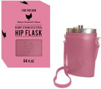 + VAT Brand New 64oz Large Hip Flask - Pink Hen Carry Case