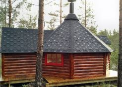 + VAT Brand New 16.5m sq Grill Cabin With Extension - Roof Covered With Bitumen Shingles -