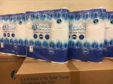 + VAT Brand New Alessa 45 Rolls Of Quilted Toilet Tissue (5 Packs Of 9 Rolls) - 200 Sheets Per Roll