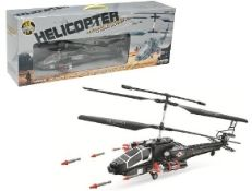 + VAT Brand New Radio Control Military Helicopter With Gyro & Twin Firing Rocket Launchers (extra