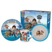 + VAT Brand New Paw Patrol Three Piece Porcelian Breakfast Set Includes 17CM Bowl - 19CM Plate And