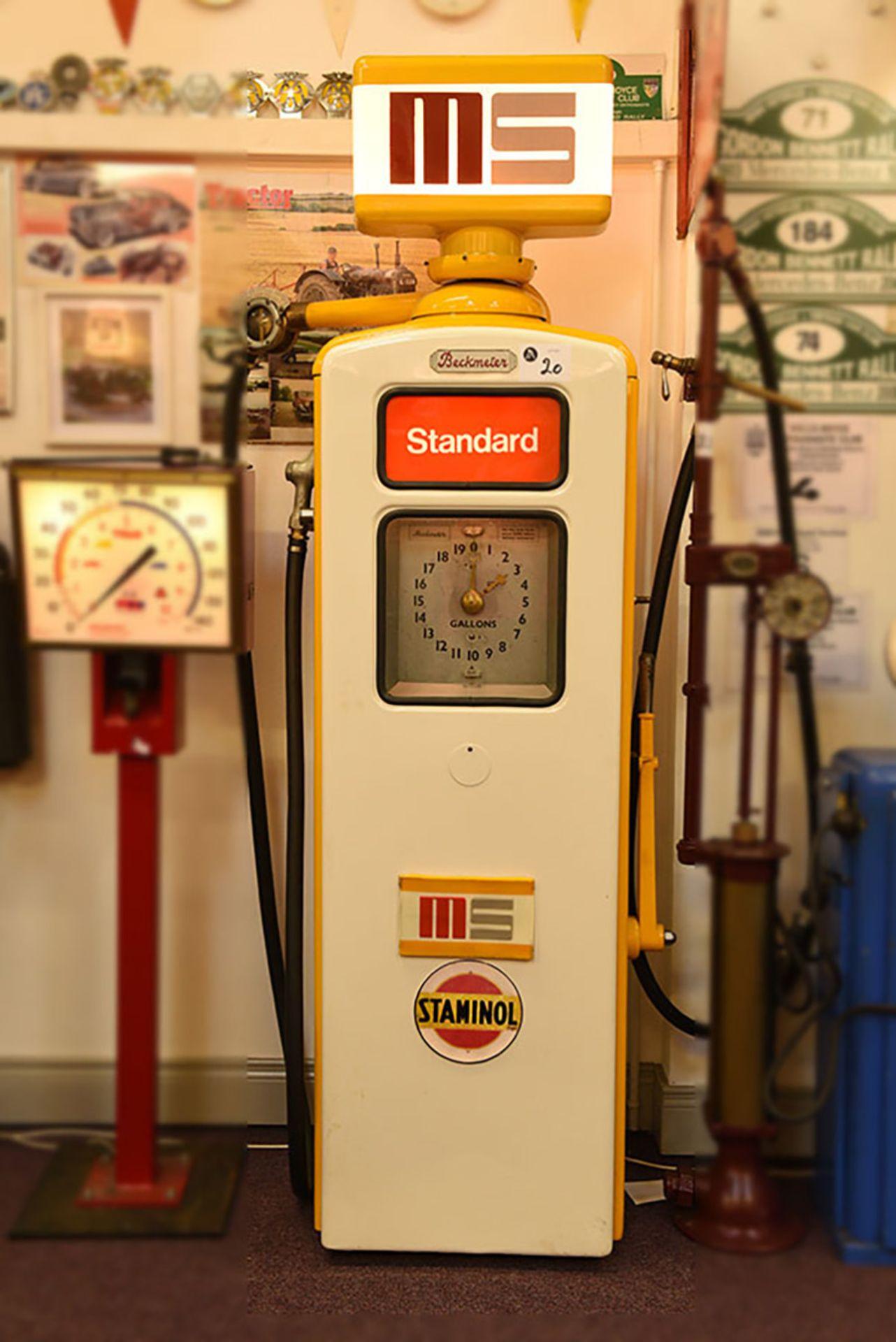 Lot 20 - Beckmeter hand operated diaphragm petrol pump c/w MS Glass globe
