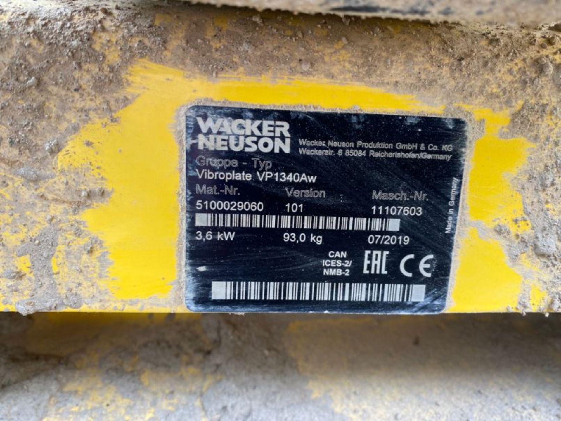 Lot 71 - Wacker Neuson Vibroplate VP1340AW vibrating plate: serial no: 11107603 (2019): (delivered Feb-20)