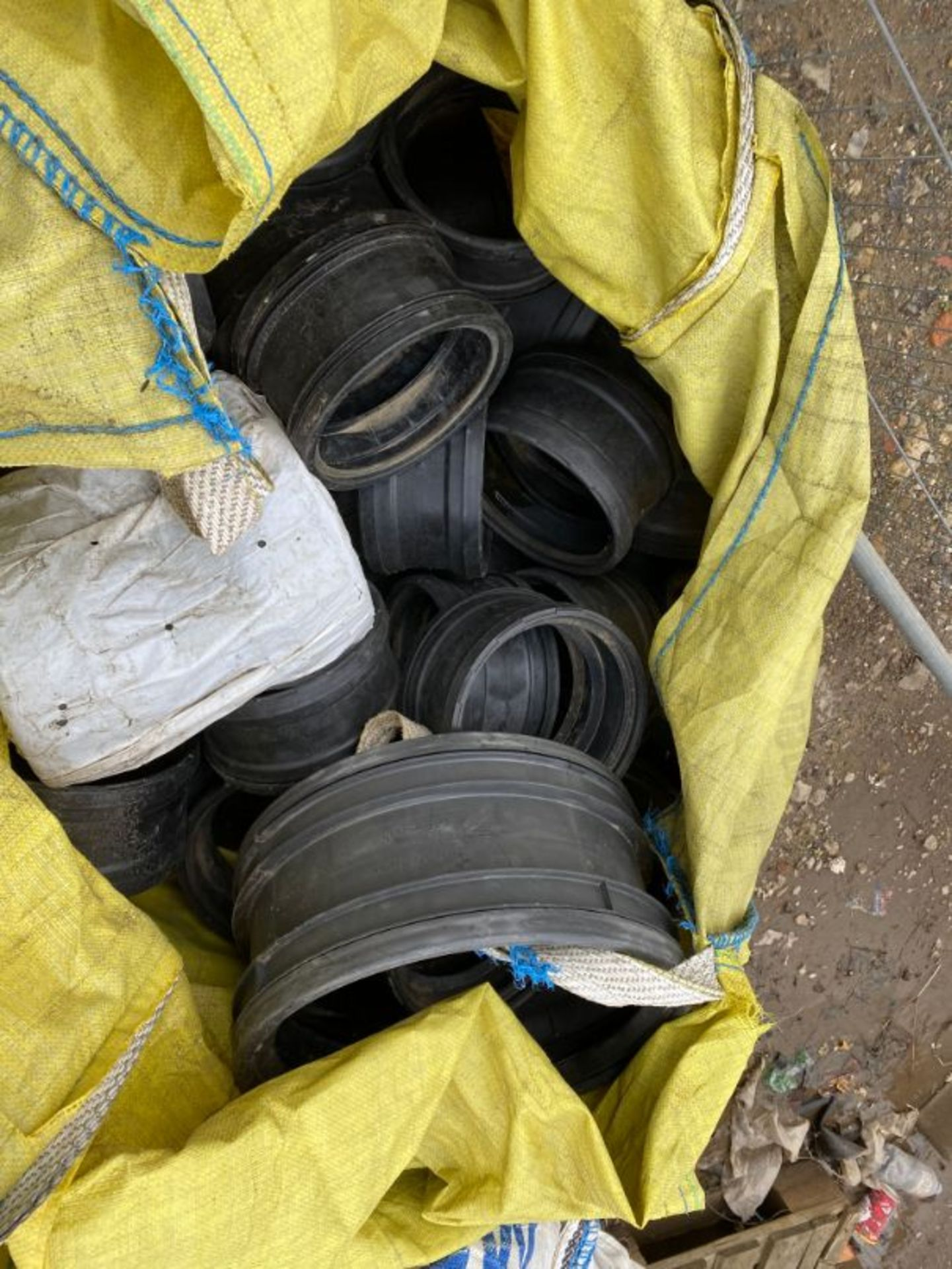 Lot 63 - Qty various concrete, ceramic and PVC civil drainage fittings, cast iron manhole covers, as lotted