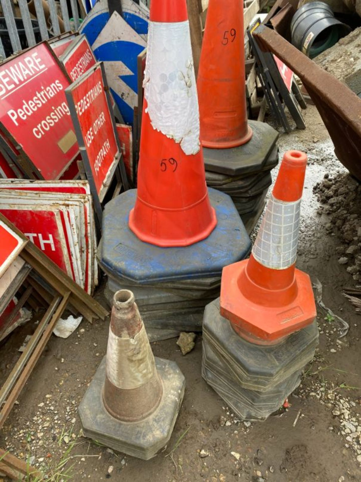 Lot 59 - Qty various road signs and bollards, as lotted