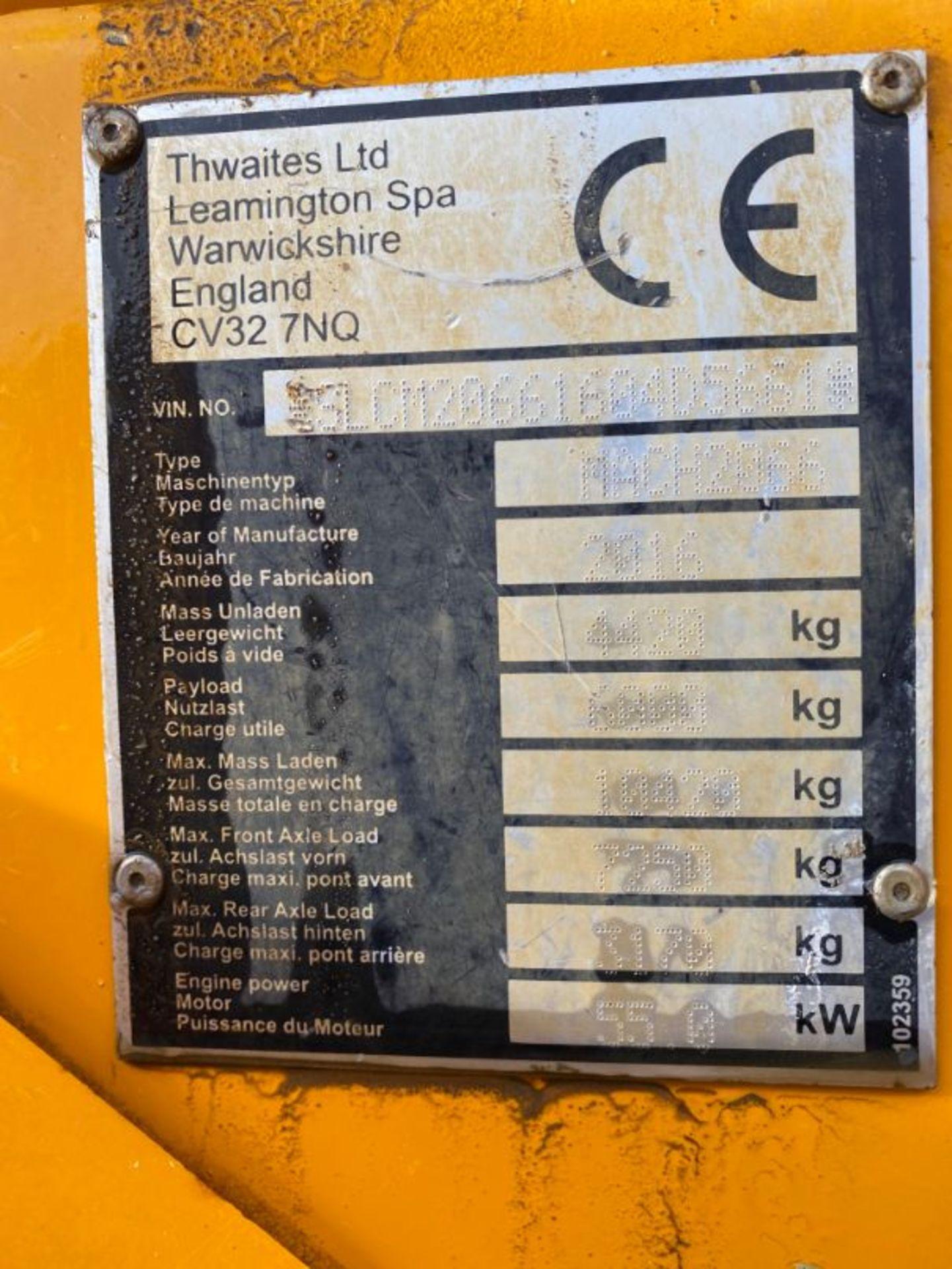 Lot 7 - Thwaites Mach 2066 6-tonne swivel tip dumper truck, reg no RV16 OZN: date of registration: 1.5.2016