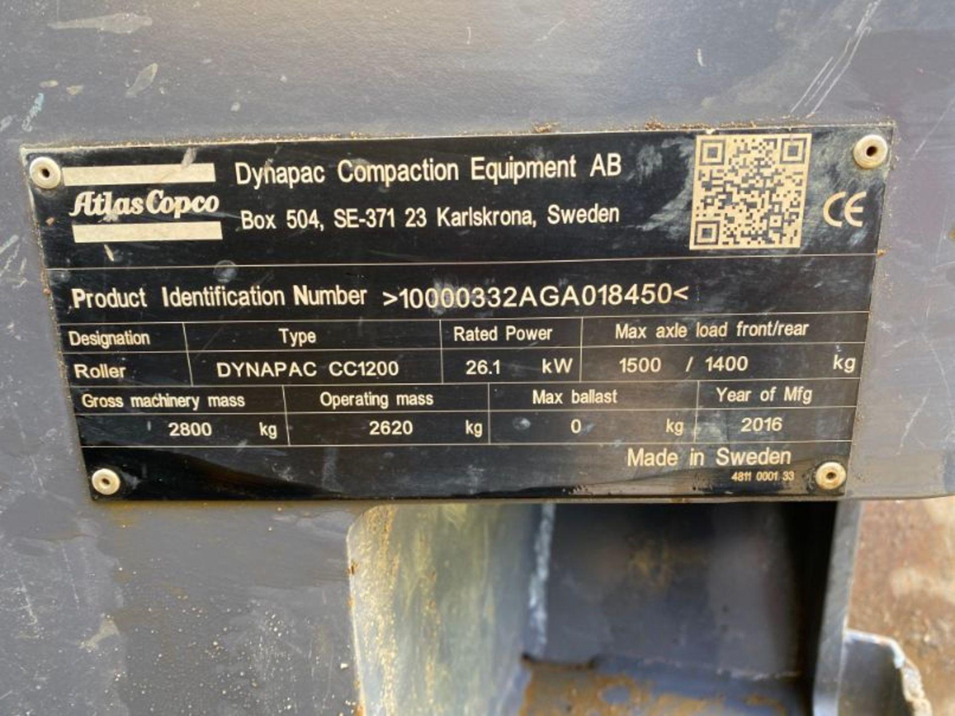 Lot 12 - Atlas Copco Dynapac CC1200 smooth drum tandem roller: serial no: 10000332AGA18450 (2016) - 504