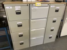 Steel 4 drawer filing cabinet x 13 & Steel 5 drawer filing cabinet x 1