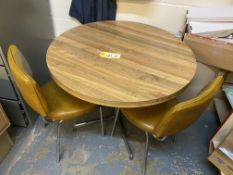 1.2m dia laminate table with two chairs, brown leather effect