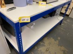 1.8m Dexion style slot together workbench with shelf over, 1.8m Dexion style slot together rack x 2,
