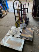 Tubular steel sack barrows with pneumatic tyres x 3, purpose-built skates x 3