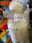 Quantity assorted packaging materials including Eco-Flow loose fill polystyrene quavers, PP12