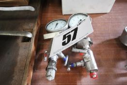2x Sustech Precision, Stainless Steel Pressure Gauges with Isolating Valves (1x Damaged)