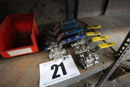 "8x Stainless Steel, Approximately 1/2"" Ball Valves (4x with Blue Handles, and 4x with Yellow"
