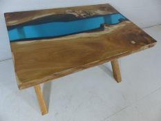 English Oak Modern contemporary Resin River coffee table, hand-made, new. (Approx 90cmx60cmx52cm)