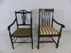 Two antique carver chairs with upholstered seats