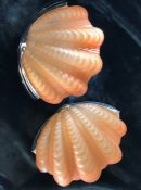 Pair of Art Deco opalescence glass clam shell design wall lights
