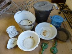 Collection of vintage metal and enamel ware to include buckets, flour tin, kitchen utensils and