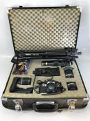 Hard cased camera equipment to include Olympus OM10 camera, Teleconverter 2X-A lens, 55mm SKYLIGHT