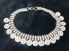 Silver coloured heavy necklace with eastern/ Arabic coins (17 in total) total weight approx 136g