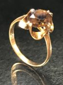 9ct 375 Gold ring set with faceted smokey Quartz stone size 'L'