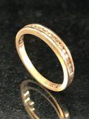9ct 375 Gold Channel set Diamond half eternity ring size 'R'