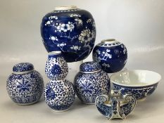 Collection of Chinese blue and white china to include gourde, ginger jars, rice bowl etc