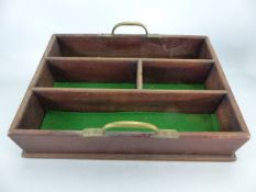 Deep wooden tray with green baize lining and brass handles