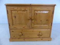 Pine cupboard unit with drawer under
