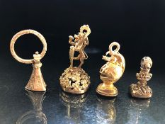 Collection of four Victorian Seals (All Gold Coloured): The largest missing its stone, The