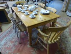 Pine Kitchen table (approx 152cm x 98cm) with two rustic pine chairs and four modern pine chairs (